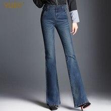 Женские джинсы, длинные, тянущиеся, расклешенные, красивые, синие, широкие, на молнии, вареные, Ретро стиль, брюки для осени и зимы размера плюс