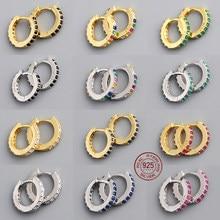 Brinco pequeno real 925 prata esterlina redonda simples argola brinco para as mulheres de cristal zircão jóias finas por atacado mais descontos
