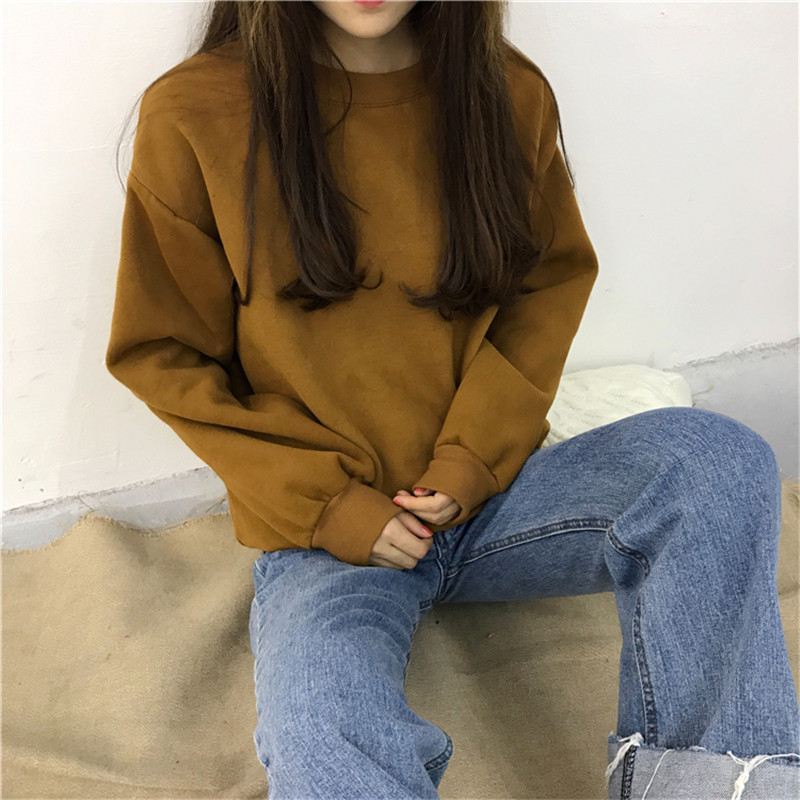 H787814ab7a044a3eb692c8dd0fefed076 - Autumn winter Harajuku Solid Sweatshirt Women Long Sleeve Hoodie Loose Women Hoodies Sweatshirts Casual Tracksuit