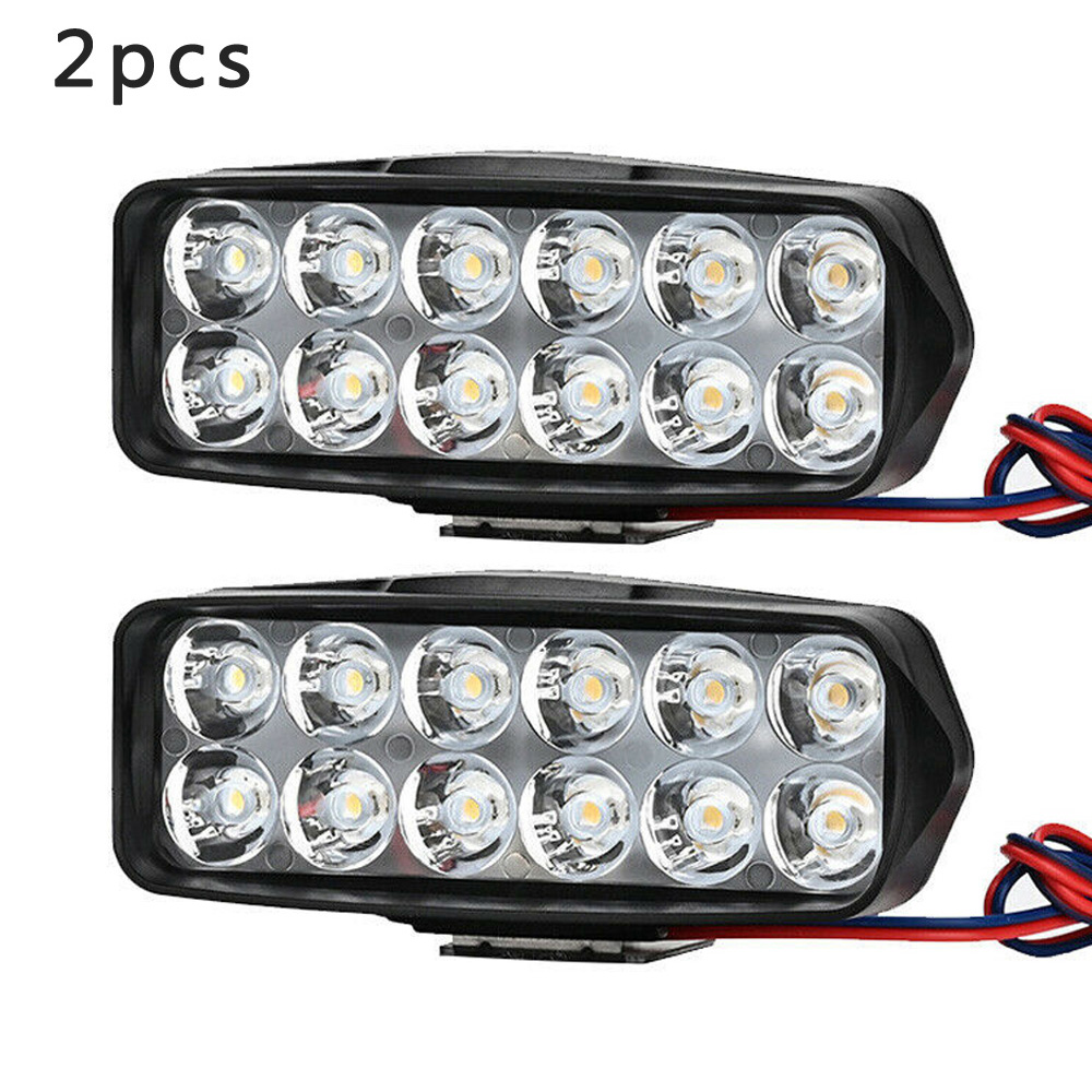 1pc/2pcs 36W Motorcycle ATV UTV Scooter Spotlight 12 LEDs Bead 6000K 2400LM Motor Bike Rearview Mirror LED Light Reflector Lamp