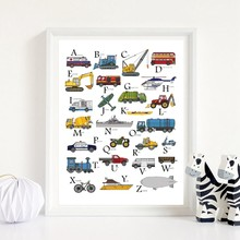 ABC Transportation Print Construction Truck Posters Nursery Alphabet Art Canvas Painting Boys Kids Classroom Toddlers Decor(China)