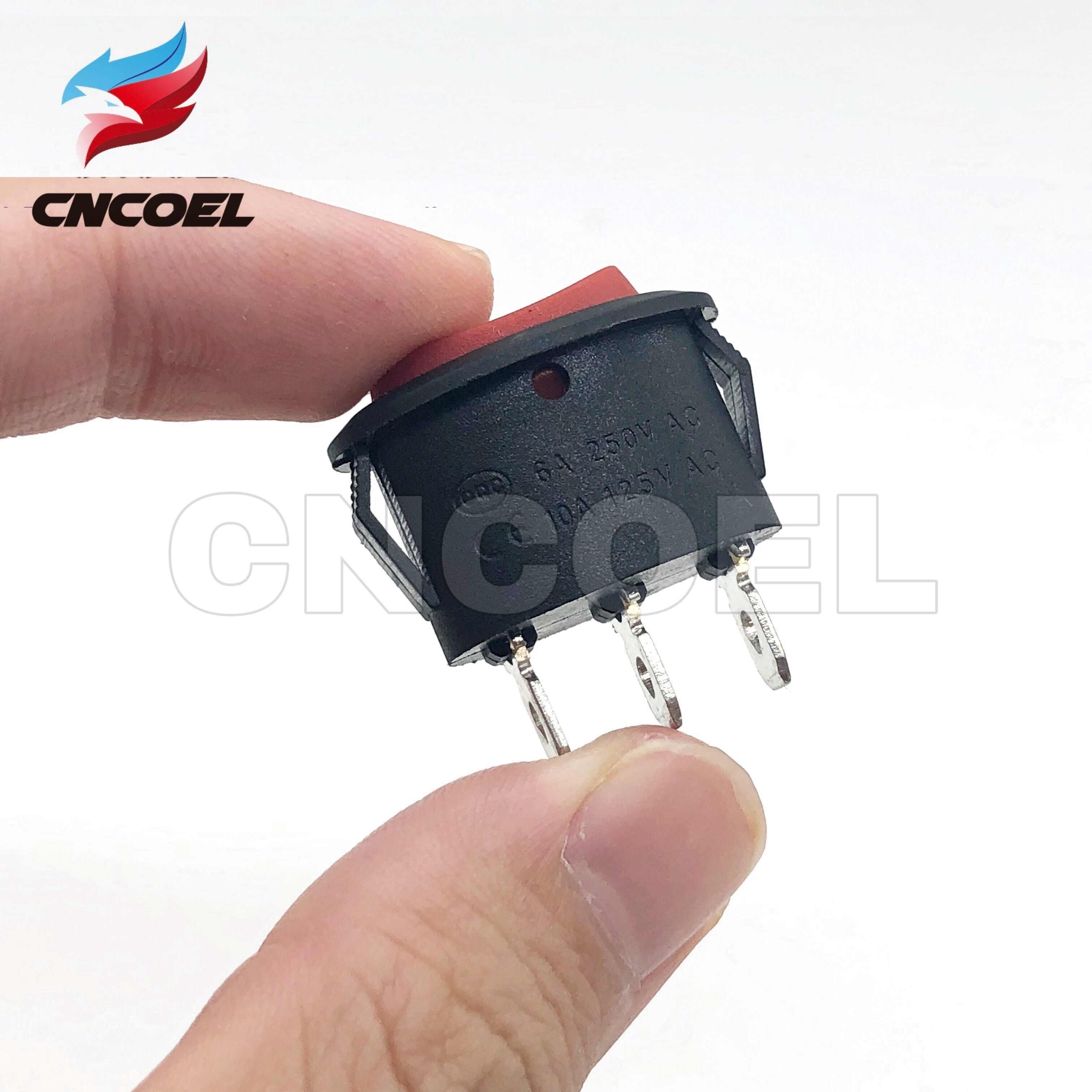 5 pièces interrupteur à bascule Ellipse rouge KCD1 3Pin interrupteur à bascule à trois positions 6A/250VAC 10A/125VAC