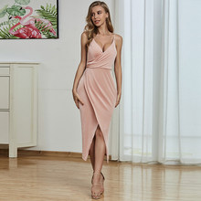 Women Knitted Dress Elegant Halter Deep V Ruched Detail Wrap Long Evening Bodycon Dresses(China)