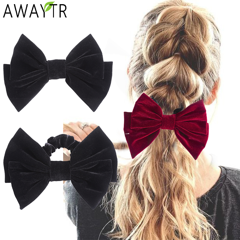 AWAYTR Velvet Bow Elastic Scrunchies Barrettes Solid Hair Clips Girl Hair Bands Women Horsetail Fixed Hair Accessories Headbands