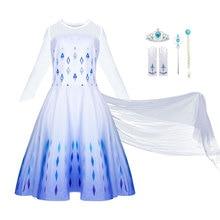 Frozen-2 Halloween-Costume Wedding-Dresses Long-Gown Cosplay Anna Elsa White Kids Children