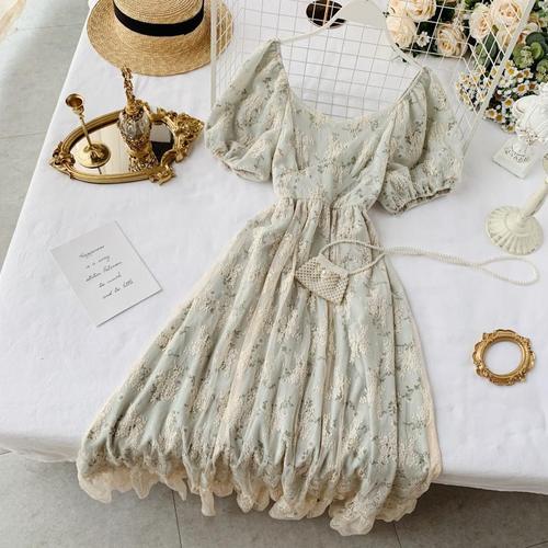 Новые модные женские платья французская элегантность винтажное кружевное платье с высокой талией для похудения Цветочное платье - Цвет: green