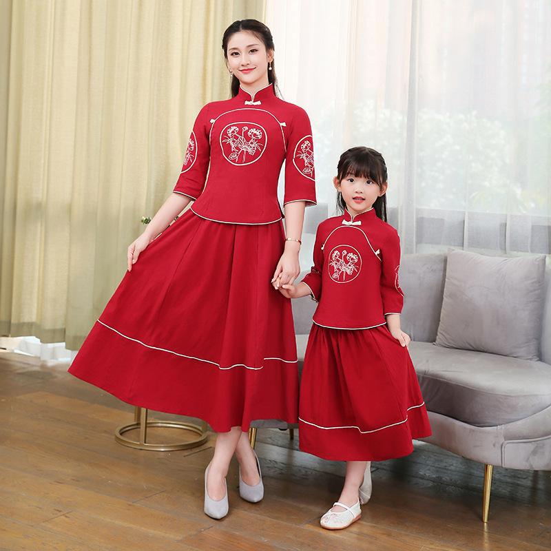 2019 Autumn New Style Parent-child Matching Outfit Chinese Clothing Daily Life Elegant Chinese-style Modified Version Parent-chi