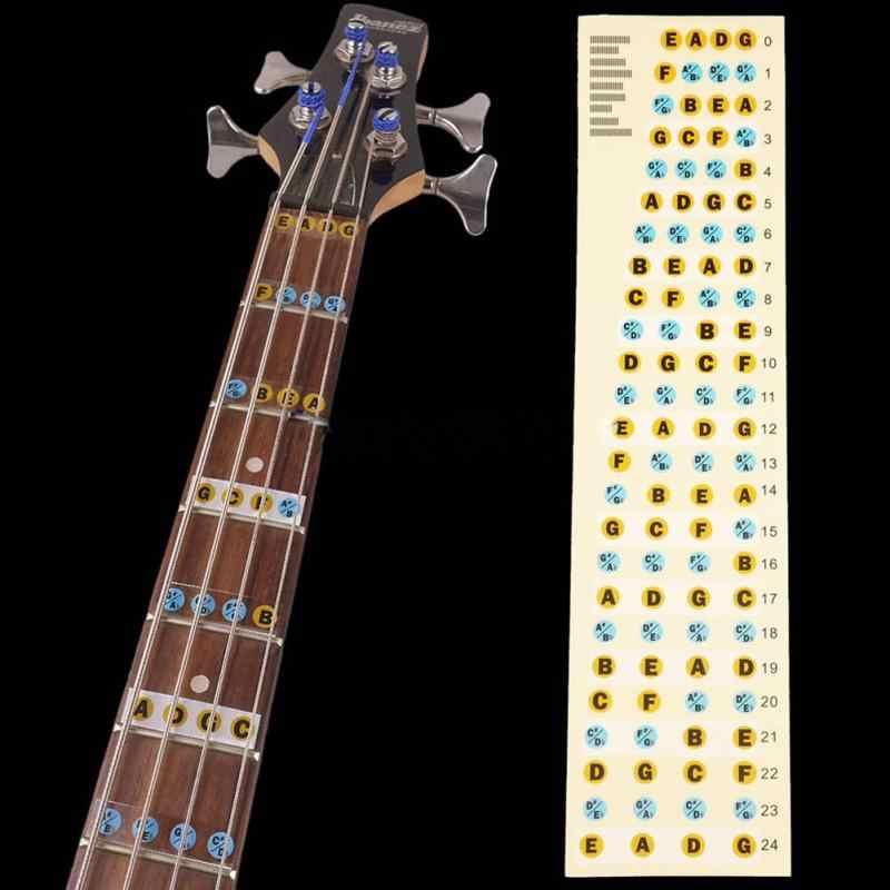 2 Pcs גיטרה Fretboard הערות מפת גיטרה בקנה מידה תוויות מדבקת שחיף לדאוג מדבקות עבור 4-מחרוזת בס אקוסטית חשמלי גיטרה
