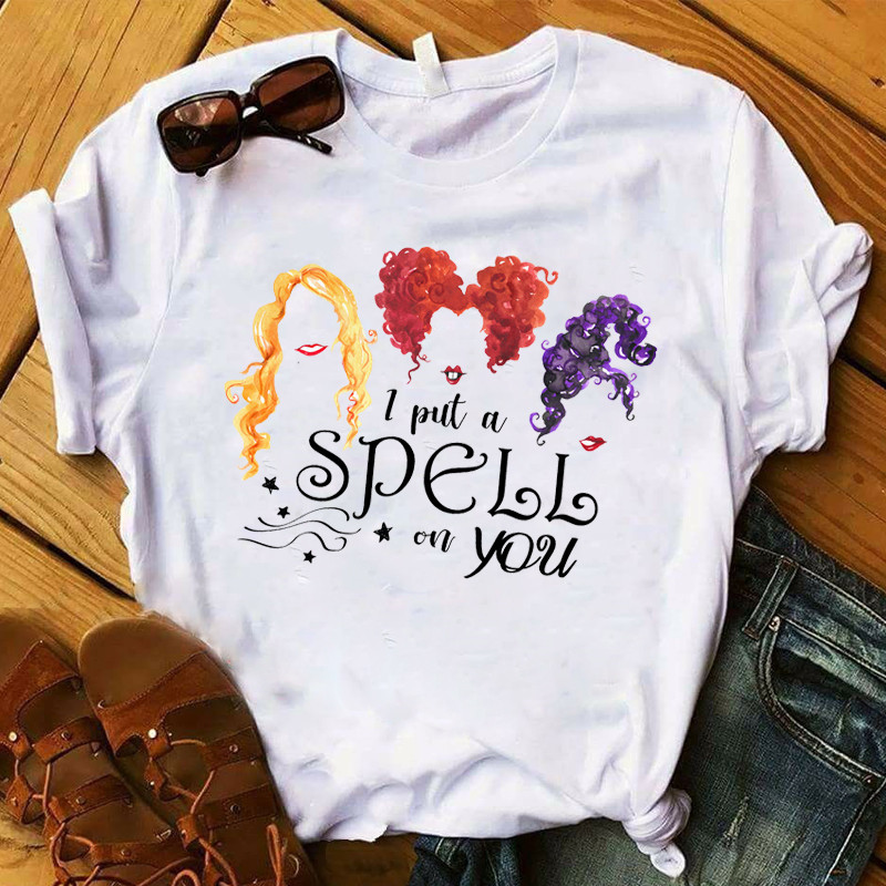 Women T Womens Graphic Witch Hocus Pocus Funny Short Sleeve Halloween Tee Shirt Ladies Top Tshirt Female Clothes T-shirt