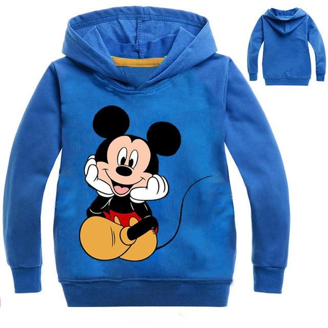 Mickey Minnie Kids Sweatshirts For Boys Girls Autumn Spring Teenage Hoodies Long Sleeve Hooded Kids Pullover T Shirt Sportswear