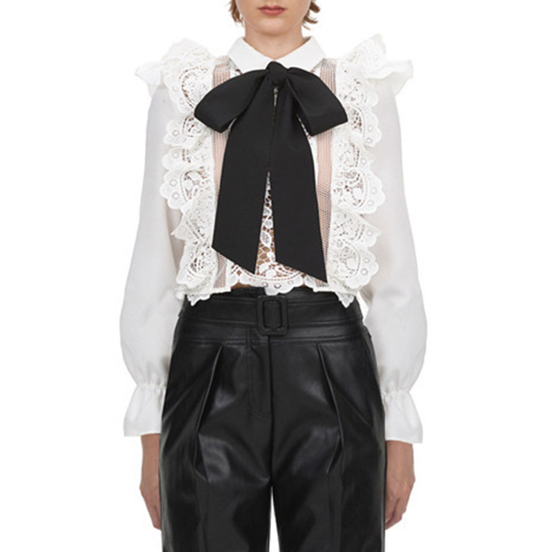 Elegant Bow Long Sleeve White Hollow Out Lace Blouses And Tops Womens 2020 Spring Formal Ladies Office Blouse Work Wear