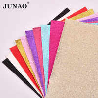 JUNAO 20*34cm Colorful Glitter Leatherette Faux Leather Fabric PU Leather Sheets For DIY Bag Shoes Crafts Decoration