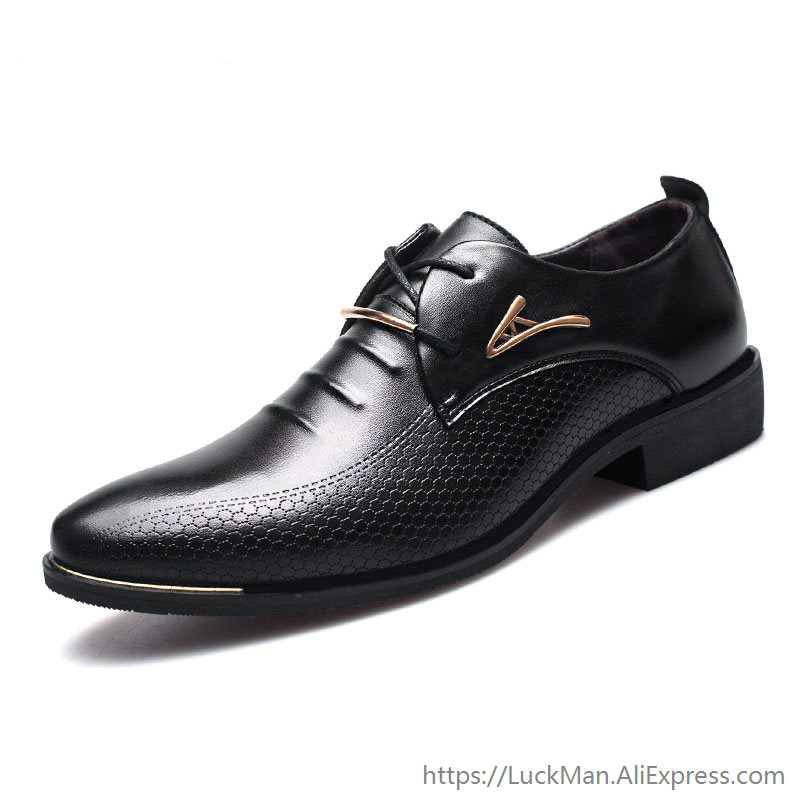 Luxury Brand Classic Man Pointed Toe Dress Shoes Mens Pu Leather Black Wedding Shoes Male Oxford Formal Shoes Plus Size