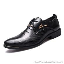 Zapatos de vestir clásicos de marca de lujo para hombre, zapatos de boda negros de cuero Pu para hombre, zapatos formales Oxford para hombre, Tallas grandes