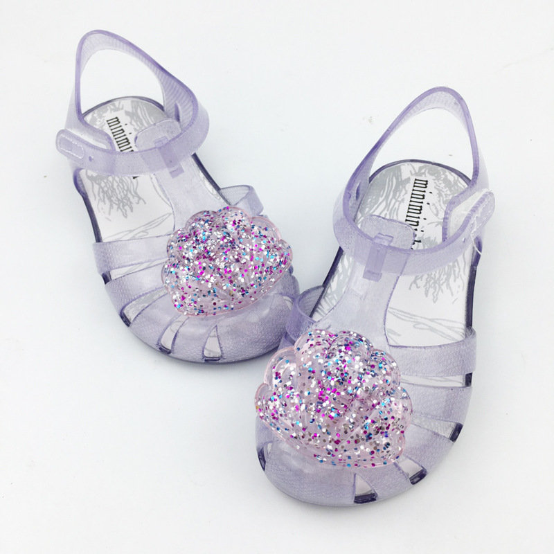 2020 Summer Girls Sandals Sequin PVC Jelly Mini Melissa Sandalia Infantil Children Shell Fashion Baby Princess SO001