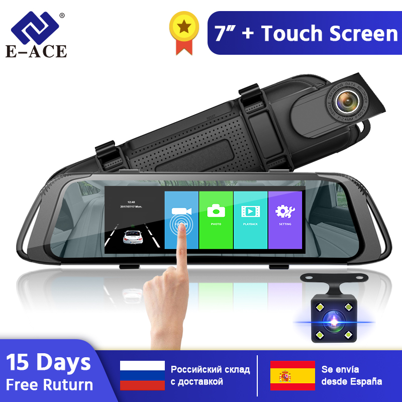 E-ACE 7.0 Inch Touch <font><b>Car</b></font> <font><b>DVR</b></font> <font><b>Mirror</b></font> FHD 1080P Video Recorder Auto Registrator Dash Camera Dual Lens with Rear View Camera image