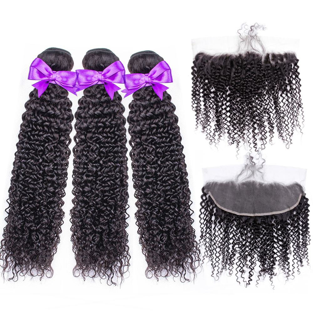 Beau Hair Peruvian Curly Human Hair Weave Bundles With 13*4 Lace Frontal Closure Free Part Remy Closure Human Hair Extensions
