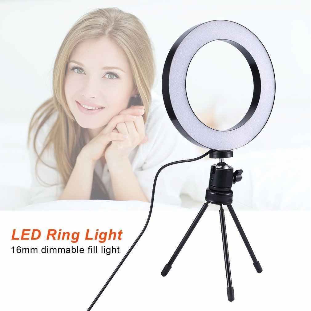 16 มม.หรี่แสงได้ LED กล้องแหวนภาพโทรศัพท์วิดีโอโคมไฟขาตั้งกล้อง Selfie Stick แหวนเติมสำหรับ Cano