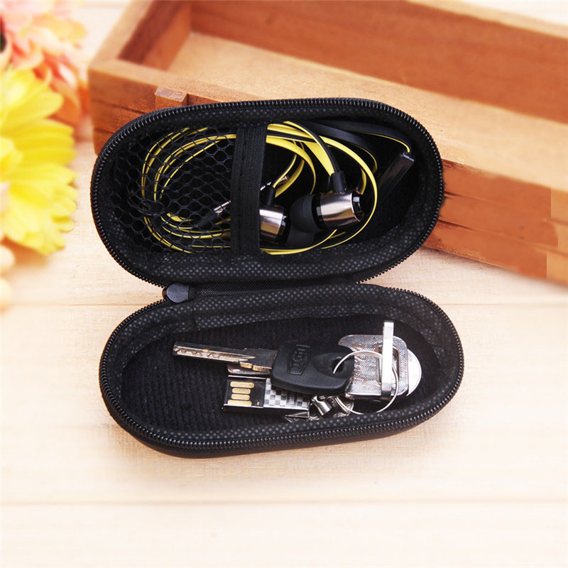 Earphone Holder Case Storage Carrying Hard Bag Earphone Pouches Storage Cases Black Box Coin Purse USB Cable Key Organizer