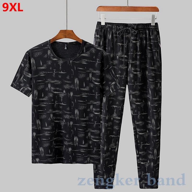 Summer Short-sleeved Track Suit Men 150kg Camouflage Suit Male Plus Size 8XL Sportswear Casual 8XL 9XL Jogger Set