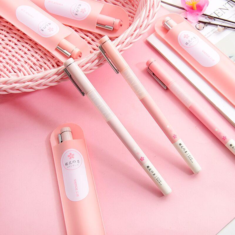 New 1PC 0.55mm Kawaii Cherry Blossoms Black Ink Gel Pen Ball Point Pens Girls Gift School Office Stationery