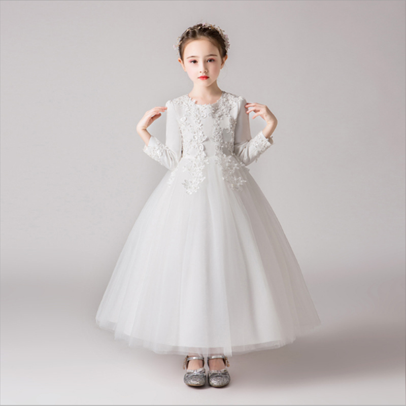 christmas dress New Princess Lace Dress Kids Flower Embroidery Dress For Girls Vintage Children Dresses For Wedding Party dress