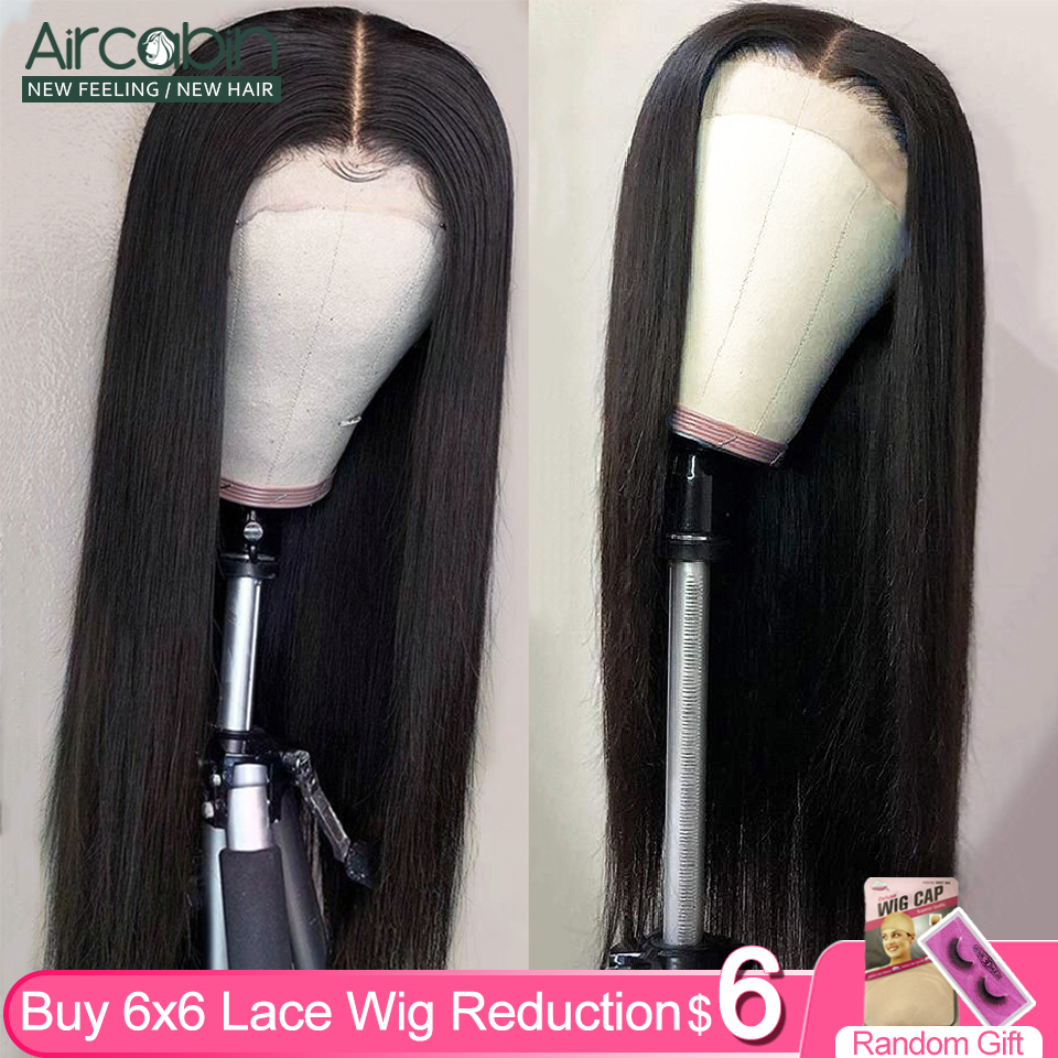 Aircabin 32 30 Inch 6x6 Lace Closure Wigs For Women Straight Brazilian Human Hair Wigs Glueless 150 High Density Wig Non-Remy
