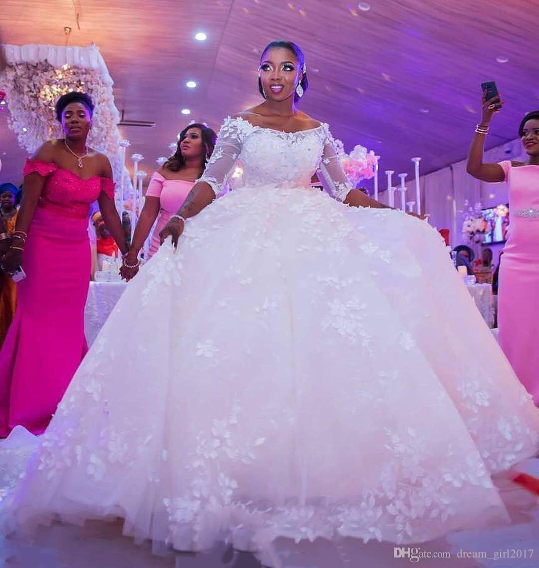 New African Ball Gown Wedding Dress 2020 Custom Made Off The Shoulder Elegant Lace Wedding Gown