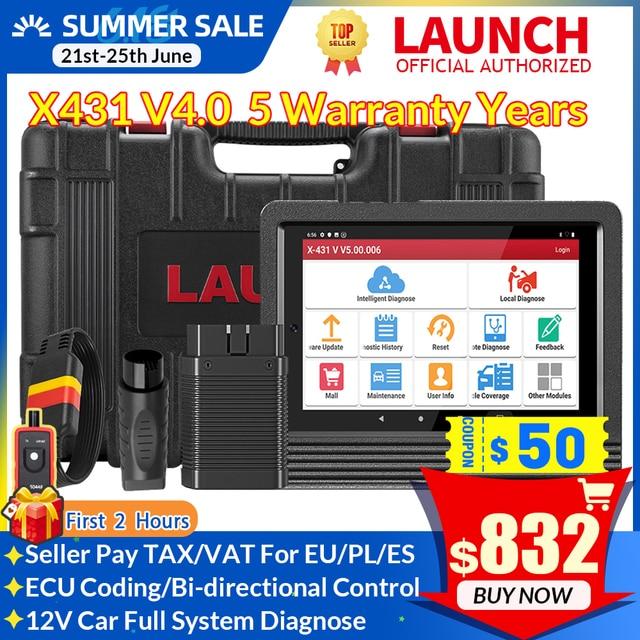 LAUNCH X431 V PRO 4.0 Full System Auto Scanner Automotive OBD2 Diagnostic Tool ECU Coding 30+ Reset Service 10000+ Car models