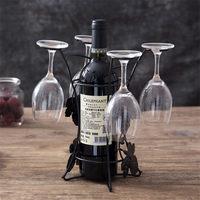 Fio de ferro folha bordo oco vinho rack suporte pendurado copos bebendo stemware prateleira garrafa vinho & copo vidro titular exibição|  -