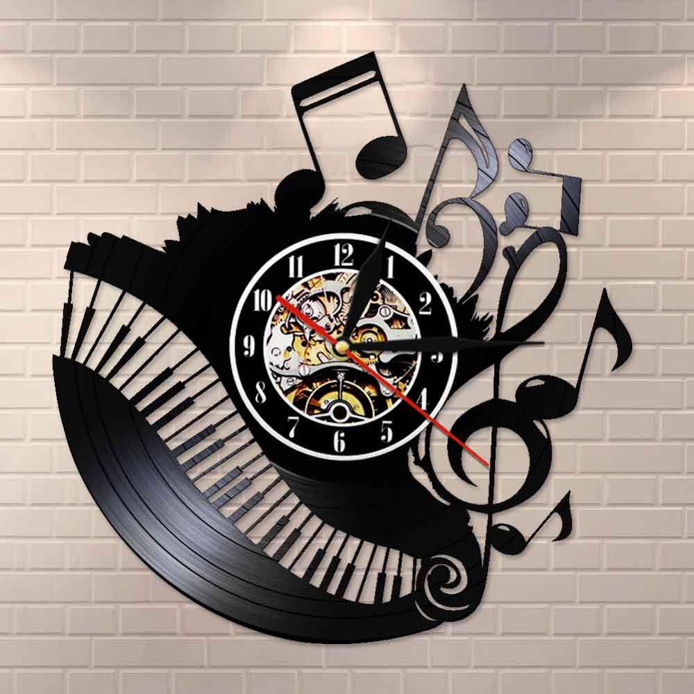 Piano Room Music Notes Vinyl Record Clock Musician Pianist Teacher Custom Sign Wall Art Vinyl Clock I Love Music Clock Watch