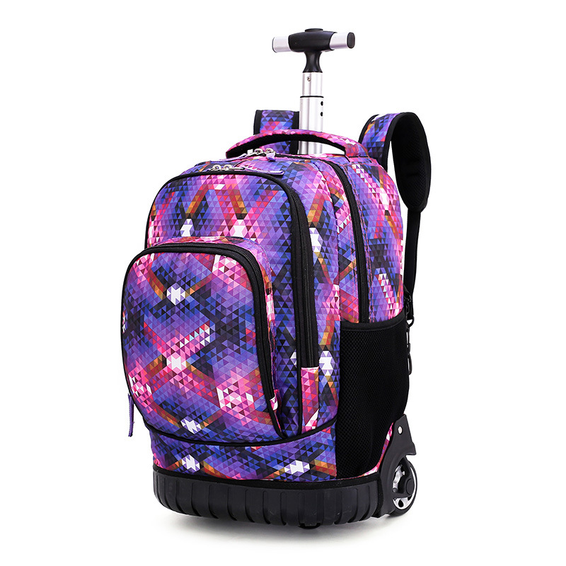 18 Inch Rolling Backpack Travel School Backpacks On Wheel Trolley SchoolBag For Teenagers Boys Children School Bag With Wheels