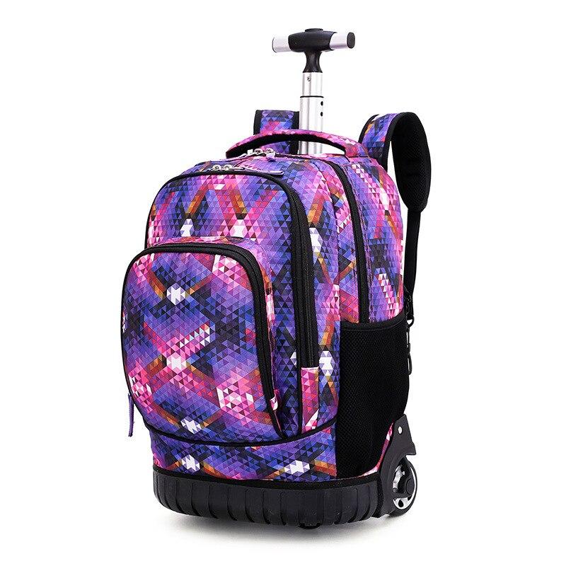 18 pouces sac à dos roulant voyage école sacs à dos sur roue chariot cartable pour adolescents garçons enfants sac d'école avec roues