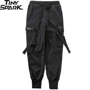 Image 4 - 2020 Hip Hop Cargo spodnie kieszenie mężczyźni Streetwear Harajuku spodnie joggery HipHop Swag Ribbion Harem spodnie moda spodnie typu Casual