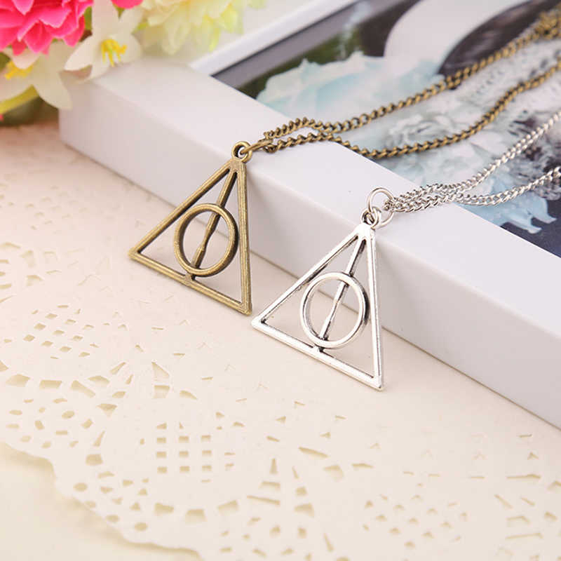 2017 Hot Sale Movie H-P Deathly Hallows Antique Triangle Pendant long Chain Necklace Gift For Men and Women   4ND226