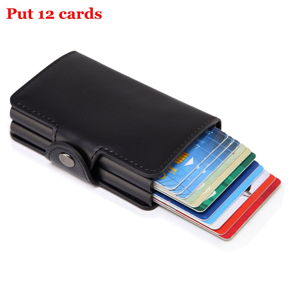 Men Rfid Wallet Metal Case Aluminum Double Box Leather Credit Card Holders for women Slim Anti Protect Travel ID Cardholder