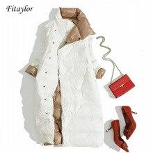 Fitaylor размера плюс, Женский Двухсторонний пуховик, длинная куртка на белом утином пуху, зимняя двубортная теплая парка, зимняя верхняя одежда