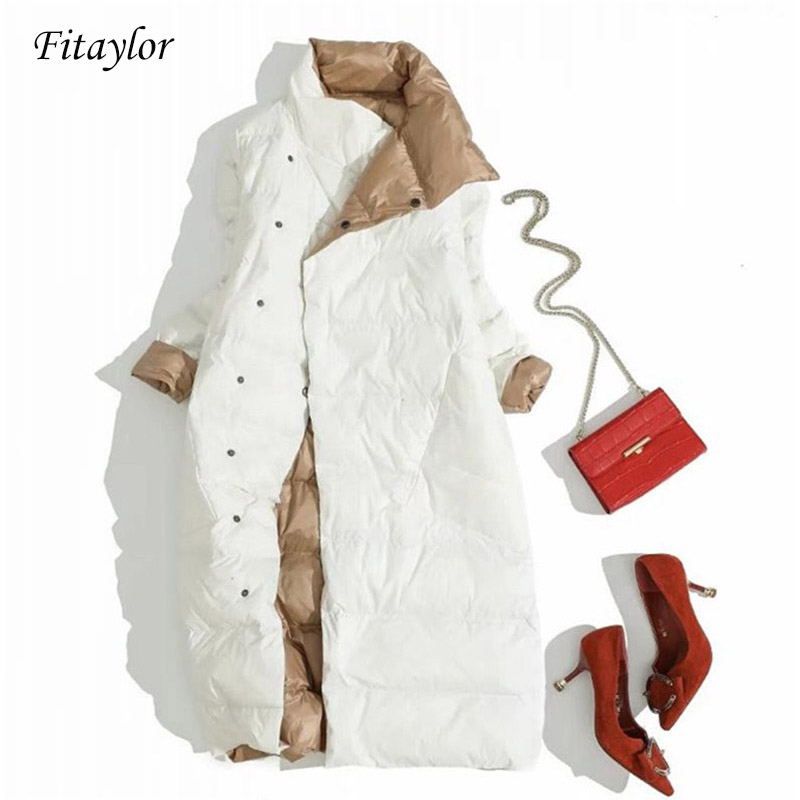Fitaylor Plus Size Women Double Sided Down Long Jacket White Duck Down Coat Winter Double Breasted Warm Parkas Snow Outwear