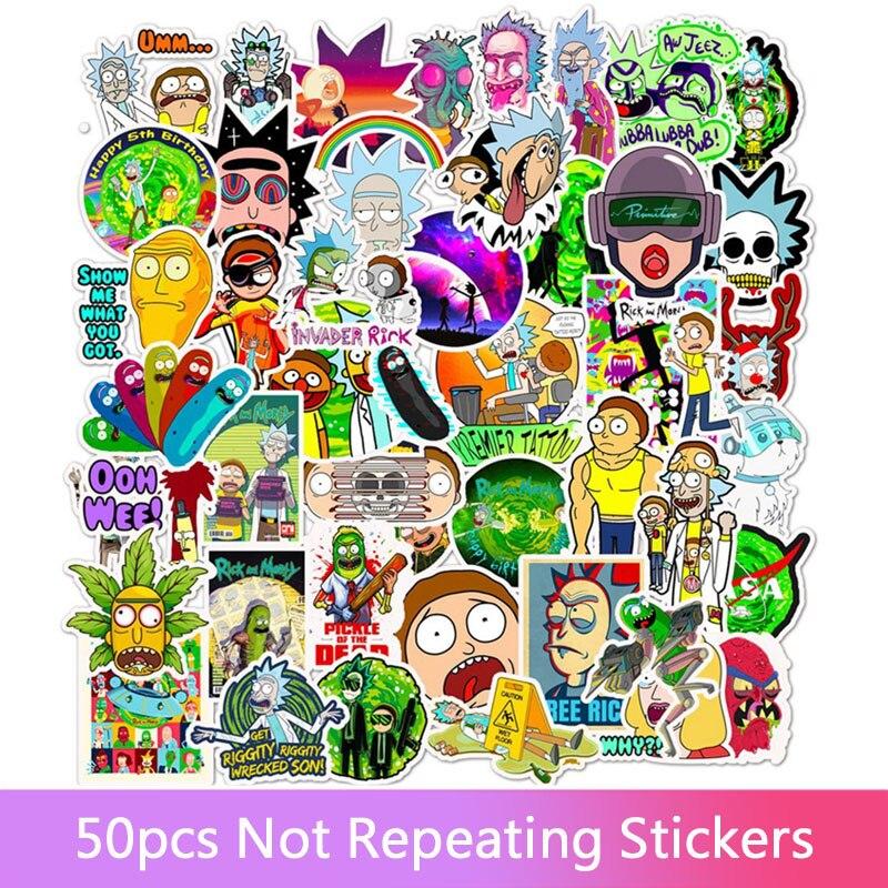 50 adet karikatür Rick çıkartmaları DIY seyahat kaykay bavul gitar bagaj Laptop su geçirmez serin Sticker çıkartması çocuk oyuncak