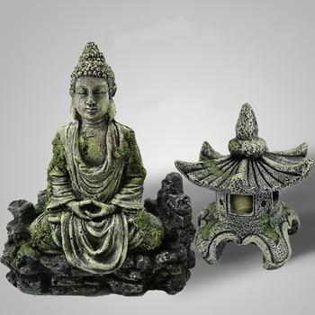 Antique Buddha & Lighthouse Statue Aquarium Set  1