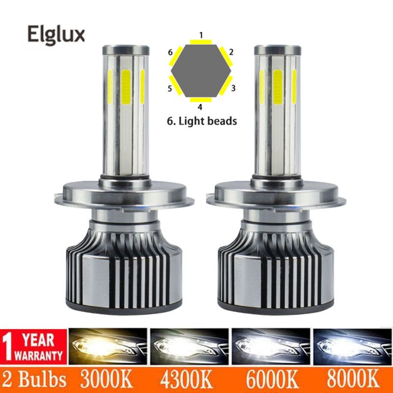 2PCS <font><b>360</b></font> Degree H4 <font><b>Led</b></font> Headlight H7 H8 <font><b>H9</b></font> H11 9005 HB3 9006 HB4 Canbus <font><b>Led</b></font> Bulbs 16000LM 3000K 6000K 8000K 6 Sides <font><b>Led</b></font> Lamp image