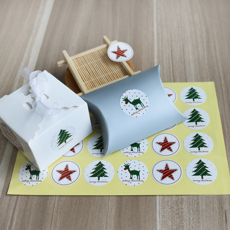 12 Pcs Christmas Stickers Elk Christmas Tree Deer Star Label Sealing Sticker For Baking Gifts Paper Stationery Sticker