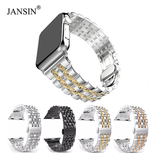 Image 1 - Zegarek ze stali nierdzewnej pasek na zegarek z jabłkiem 42mm 38mm 40mm 44mm metalowa bransoleta zapasowa do serii iWatch 6 SE 5 4 3 2 1