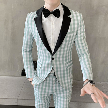 Grooms Suits 2019 Mens Evening Suits Set Plaid Green Suits Mens Smoking Boyfriend Party Dress Prom Men Clothing British Slim Fit