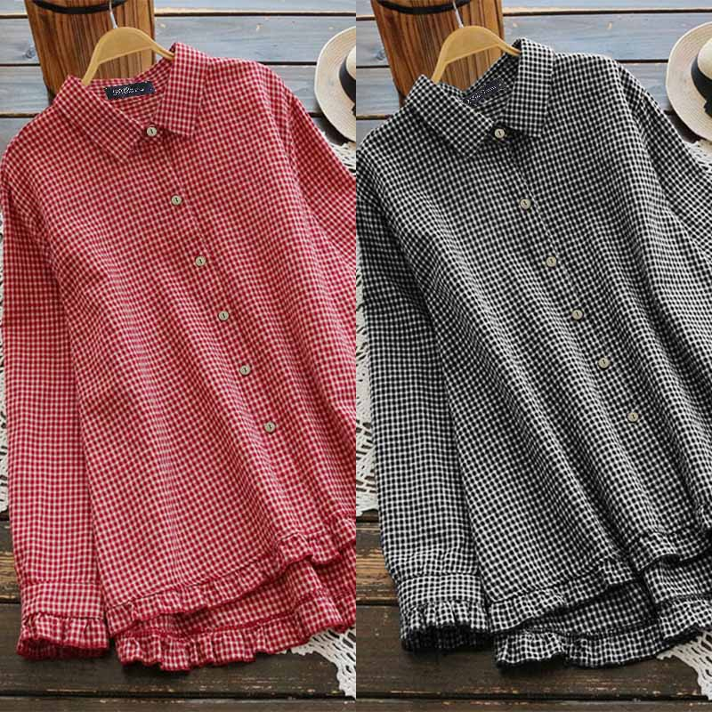Women Cotton Linen Shirt ZANZEA Plus Size Office Lady Work Blusas Female Plaid Check Tunic 2019 Autumn Long Sleeve Blouses 5XL