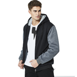 Amazon Hot Selling Men Brushed And Thick Hoodie Street Hoodie Hooded Cardigan Coat Large Size MENS Cotton-padded Clothes