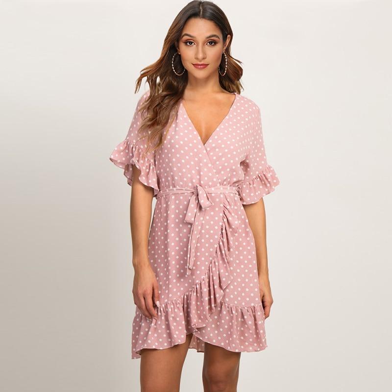 Robe d'été 2019 Boho Style robe de plage mode à manches courtes col en v à pois a-ligne robe de soirée robe d'été robes