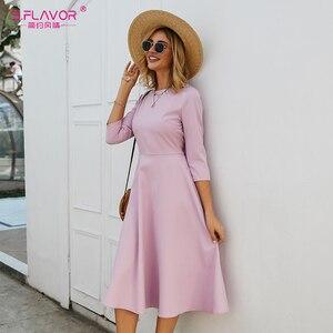 Image 1 - S.FLAVOR Для женщин светло фиолетовый платье трапециевидной формы платье элегантное платье с рукавом три четверти Повседневное платье без рукавов для женщин сезон: весна–лето вечерние платья