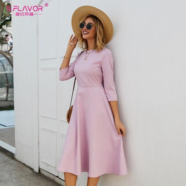 S.FLAVOR Для женщин светло фиолетовый платье трапециевидной формы платье элегантное платье с рукавом три четверти Повседневное платье без рукавов для женщин сезон: весна–лето вечерние платья