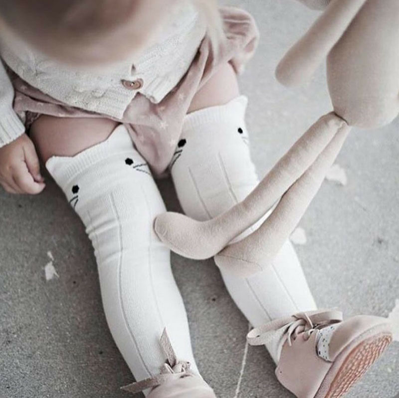 Pudcoco 2019 Children Accessories Cartoon Cotton Baby Kids Girls Toddler Knee High Stockings Tights Cats Cartoon Stockings 0-4T